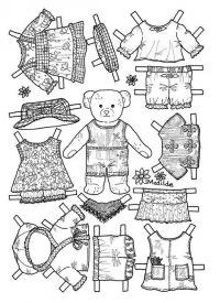 Одень бумажного медвежонка Раскраски для девочек распечатать
