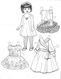 Одежда для бумажной куклы 3 варианта, платья Раскраски для девочек распечатать