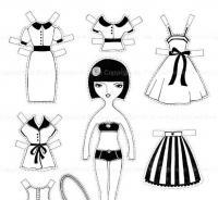 Одежда для бумажной куклы, платья, кофточки и юбки Раскраски для девочек распечатать