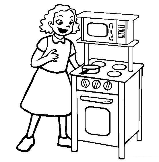 Девочка возле плиты Раскраски для девочек скачать