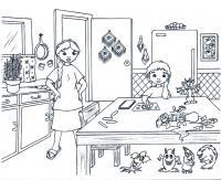Беспорядок на кухне Раскраски для девочек скачать