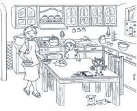 На кухне Раскраски для девочек скачать