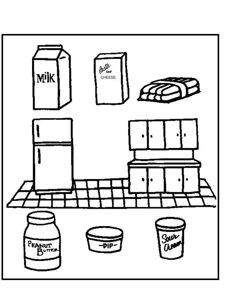 Продукты на кухне Раскраски для девочек онлайн