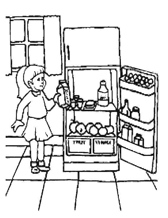 Возле холодильника Раскраски для девочек онлайн