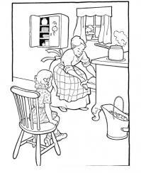 Бабушка с внучкой на кухне Раскраски для девочек онлайн