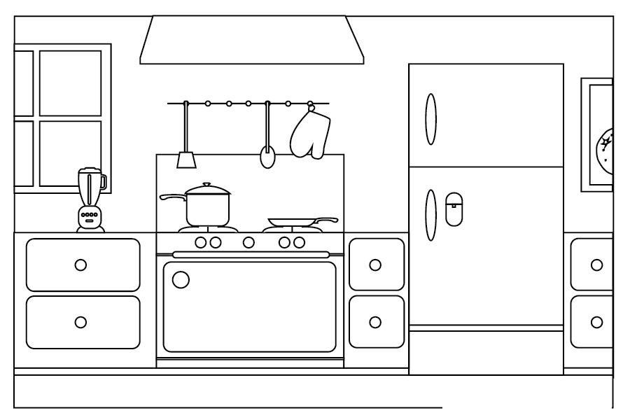Плита, холодильник Раскраски для девочек онлайн