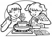 Дети на кухне Раскраски для девочек онлайн