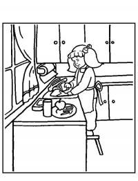 Девочка на кухне Раскраски для девочек онлайн