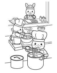 Кухня столовой зайчат Раскраски для девочек онлайн