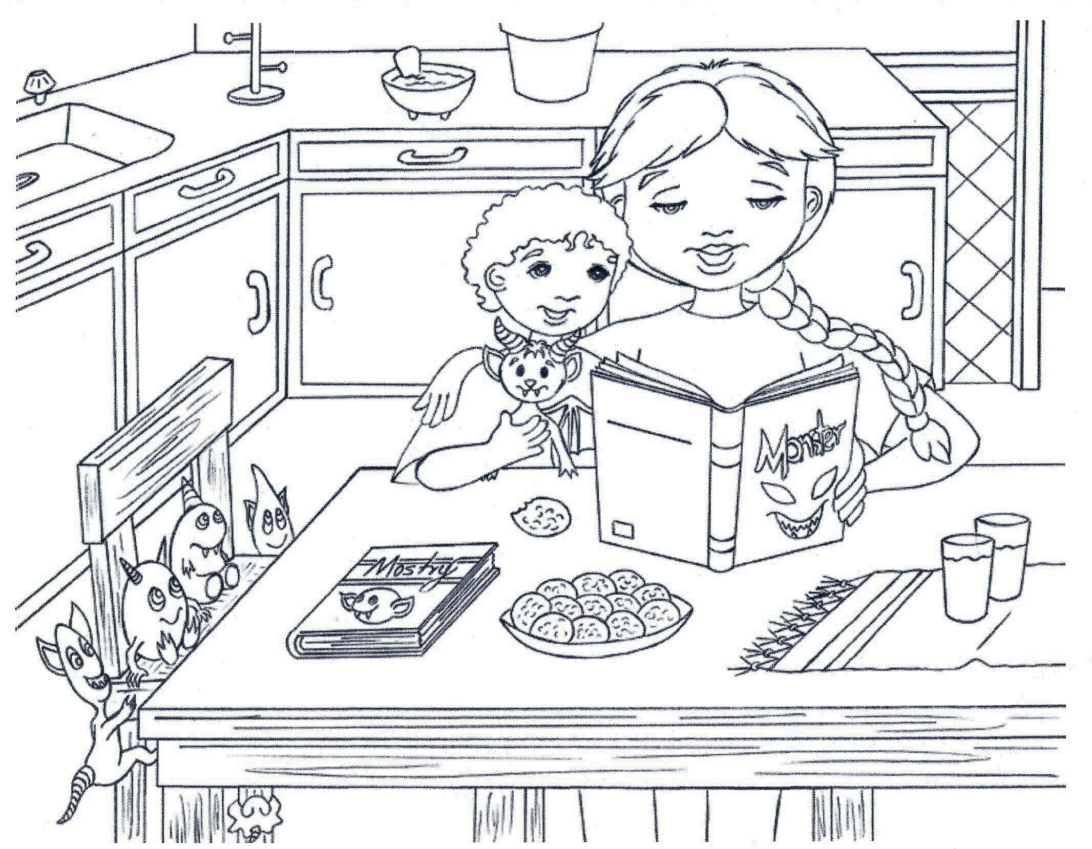 Чтение сказки на кухне Раскраски для девочек онлайн