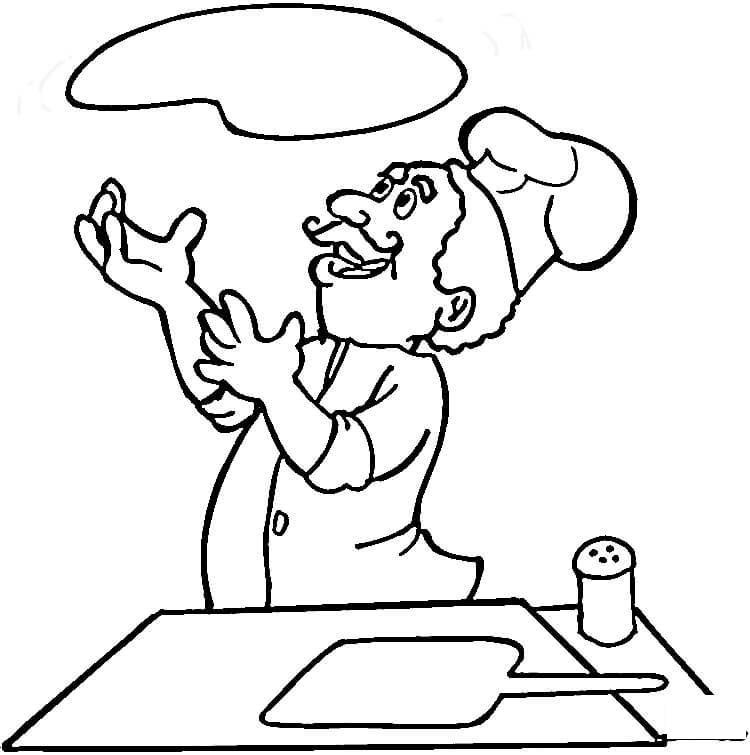 Повар готовит пиццу Раскраски для девочек онлайн