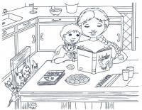 Чтение сказки на кухне Раскраски для девочек скачать