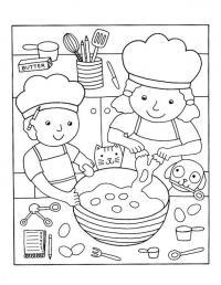 Готовим на кухне Раскраски для девочек онлайн