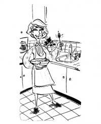 На кухне Раскраски для девочек онлайн