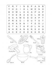 Словесный пазл раскраска на английско языке на тему кухня Раскраски для девочек скачать