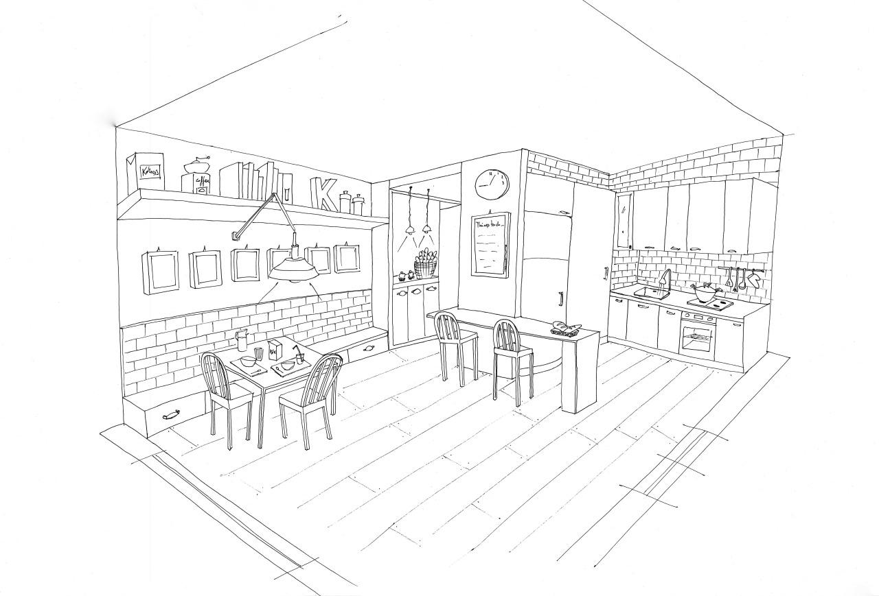 Большая кухня Раскраски для девочек онлайн