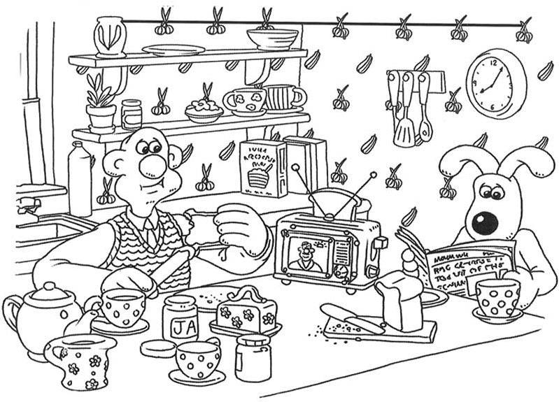 Хозяин с собакой на кухне Раскраски для девочек онлайн