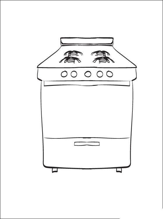 Кухонная плита Раскраски для девочек онлайн