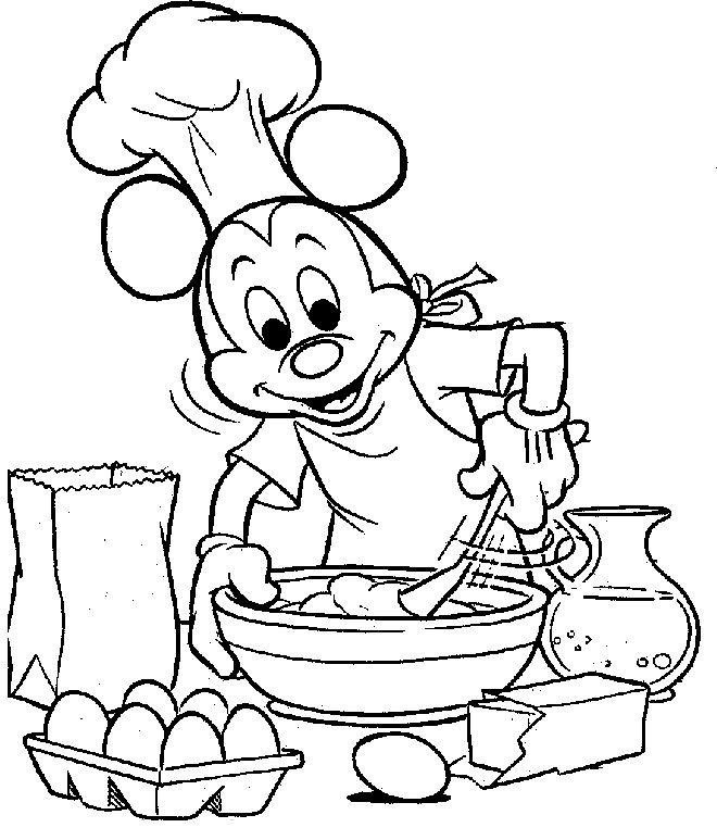 Микки маус на кухне Раскраски для девочек онлайн