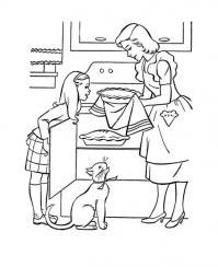 Мам с дочкой на кухне готовят пироги, кошка на кухне Раскраски для девочек онлайн