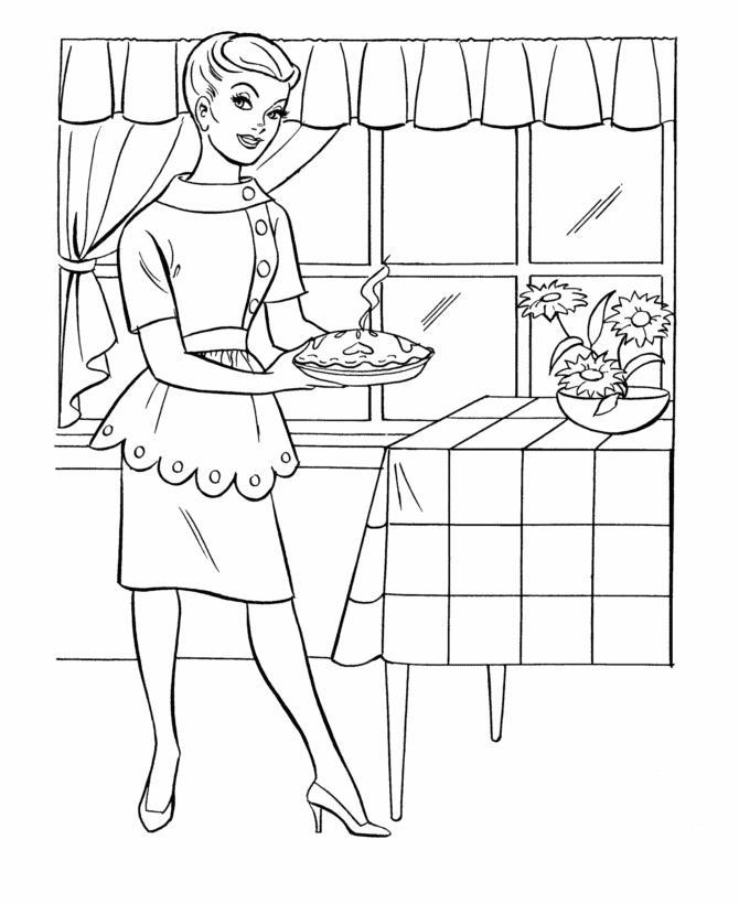 Девушка несет горячий пирог Раскраски для девочек онлайн