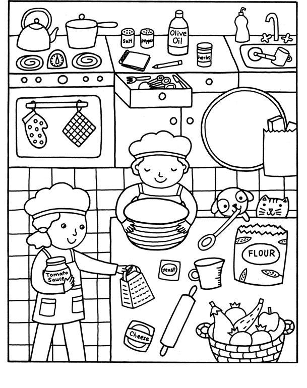 Готовим на кухне в большой компании Раскраски для девочек распечатать