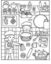 Готовим на кухне в большой компании Раскраски для девочек онлайн