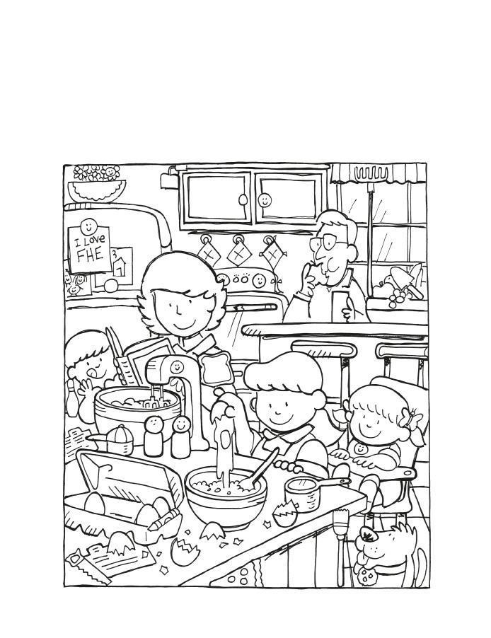 Семья на кухне Раскраски для девочек бесплатно