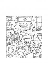 Семья на кухне Раскраски для девочек онлайн