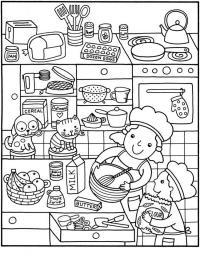 Дети готовят на кухне Раскраски для девочек онлайн