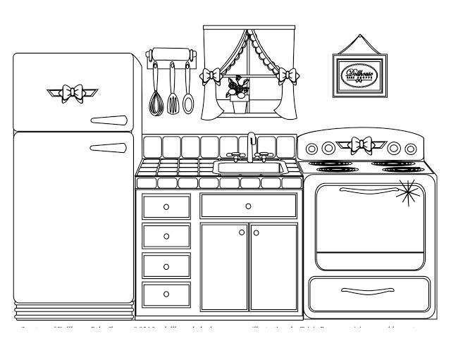 Кухня украшенная бантиками Раскраски для девочек онлайн