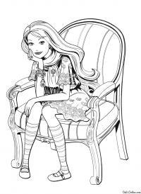 Барби думает Раскраски для девочек бесплатно