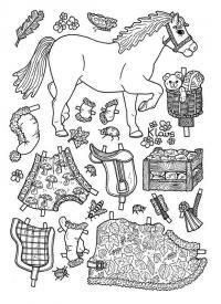 Одень бумажную куклу, лошадь Раскраски для девочек распечатать
