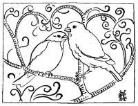 Птички на ветке Раскраска цветок для скачивания