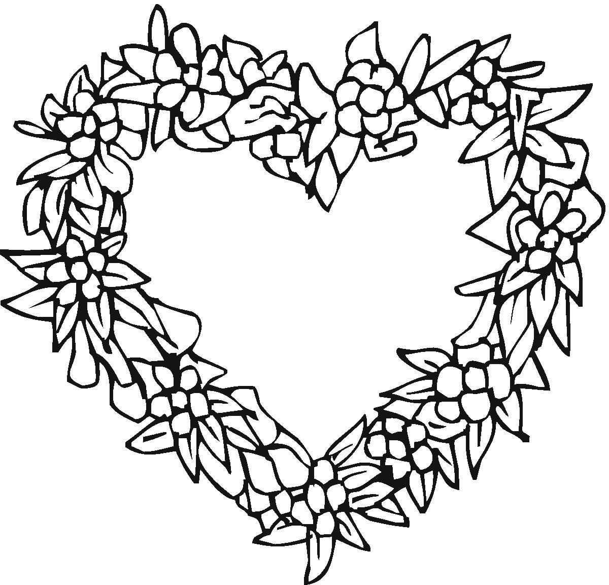 Сердце из цветов Раскраски цветы онлайн скачать и распечатать