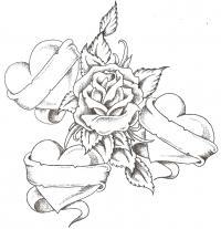 Три сердца с лентами вокруг розы Раскраски цветы онлайн скачать и распечатать