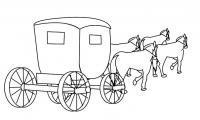 Карета запряженная четверкой лошадей Раскраски для девочек онлайн
