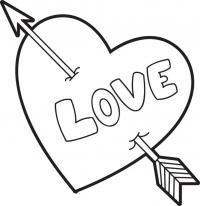 Сердце с надписью love Раскраски цветы онлайн скачать и распечатать
