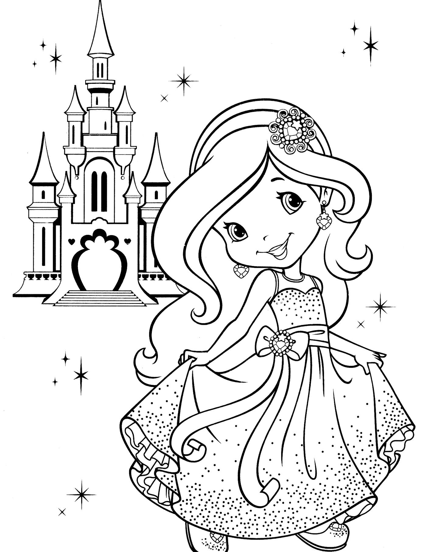 Раскраски замков с принцессами