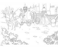 Золушка бежит к карете Раскраски для девочек онлайн