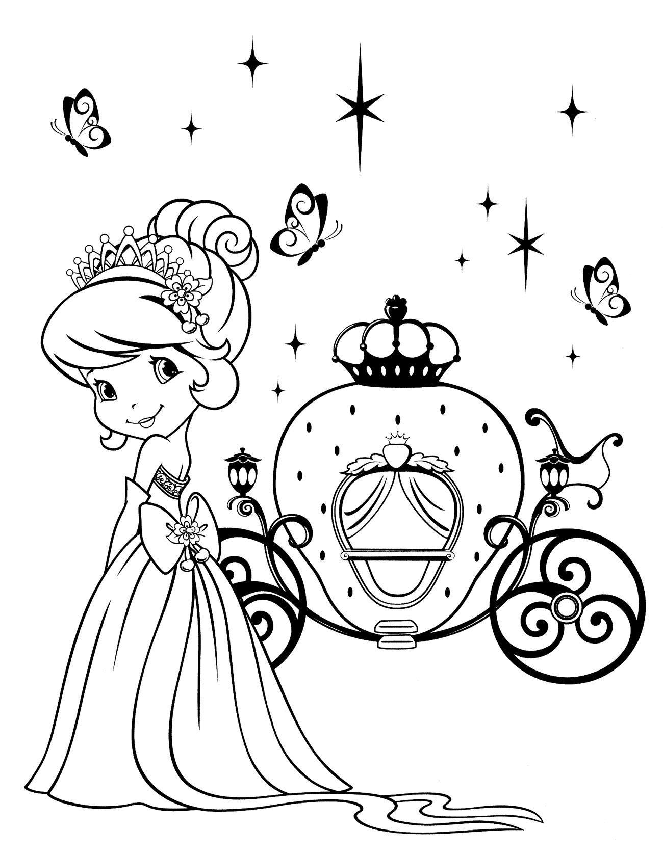 Принцесса возле кареты Раскраски для девочек онлайн