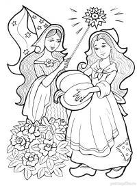 Фея и золушка Раскраски для девочек бесплатно