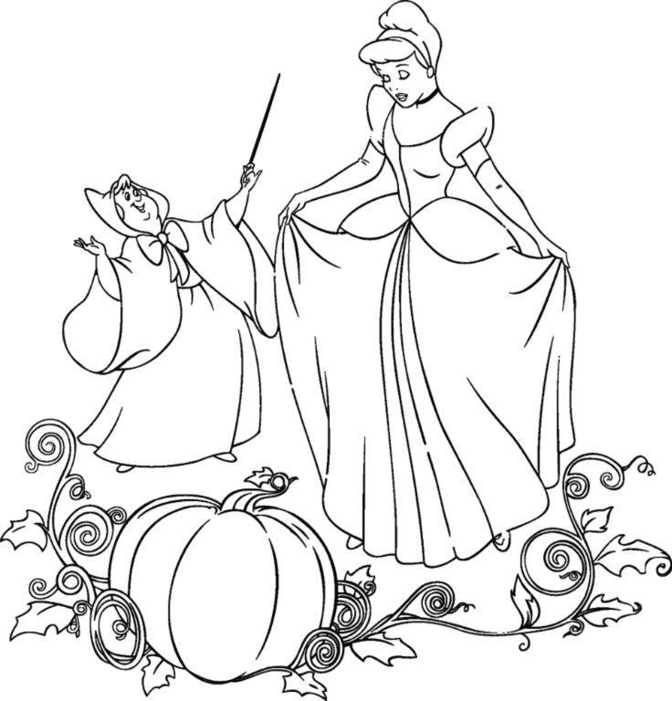 Фея и золушка рядом с тыквой Раскраски для девочек бесплатно