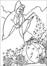Фея превращает тыкву в карету Раскраски для девочек бесплатно