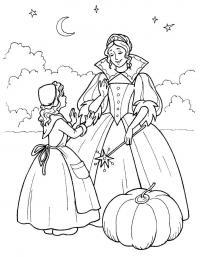 Золушка и фея Раскраски для девочек бесплатно