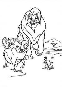 Лев и пумба Раскраски для девочек бесплатно
