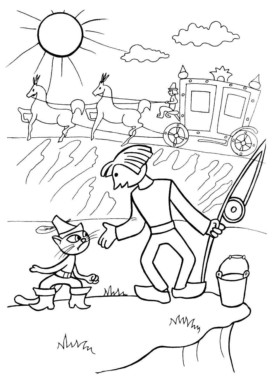 Карета, кот и сын мельника Раскраски для девочек онлайн
