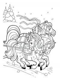 Лошадки с бубенцами Раскраски для девочек бесплатно