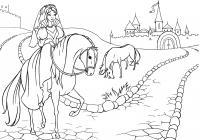 Принцесса на лошади Раскраски для девочек онлайн