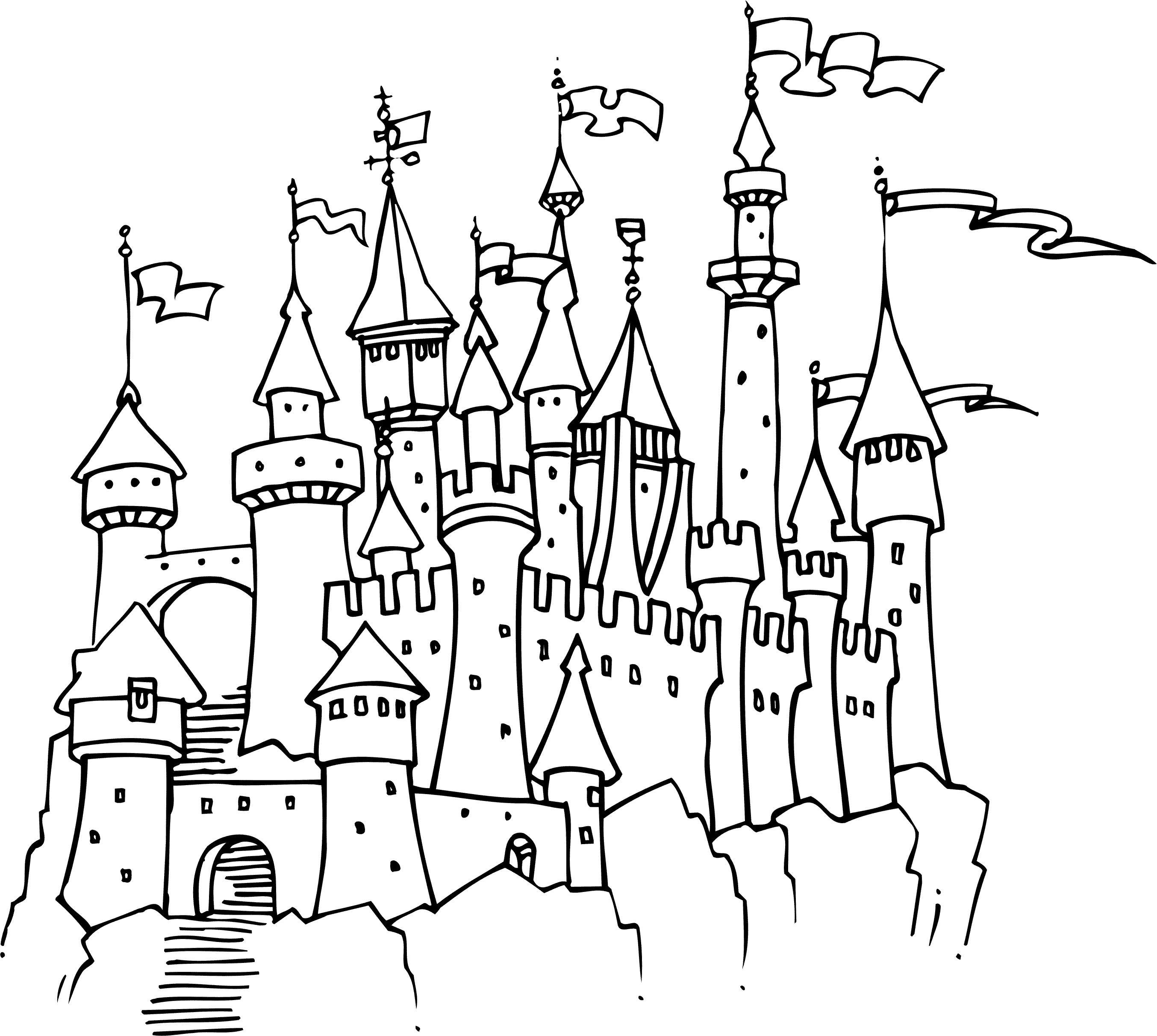 Замок принцессы с флагами Раскраски для девочек онлайн